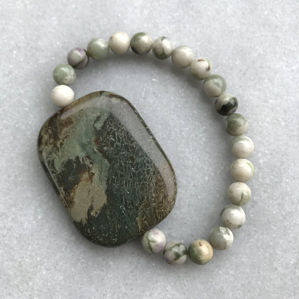 Snakeskin Jasper and Peace Jade Bracelet