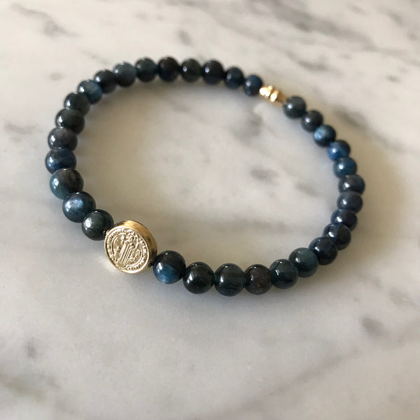 Protection - St. Benedict and Blue Kyanite Bracelet