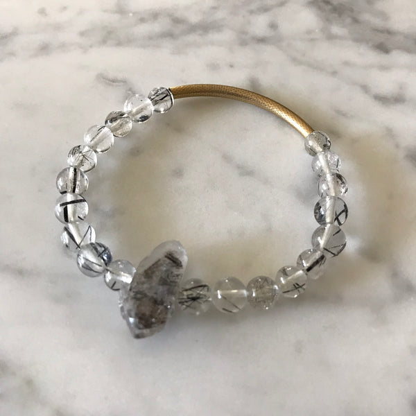 Purify and Protect - Black Tourmalinated Quartz and Black Tibetan Quartz Bracelet - Angela Arno Jewelry