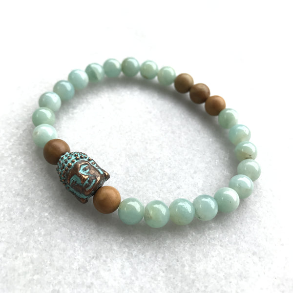Amazonite, Wood Jasper, and Buddha Bracelet - Angela Arno Jewelry