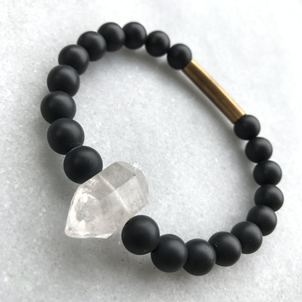 Men's Black Onyx and Crystal Bracelet - Angela Arno Jewelry
