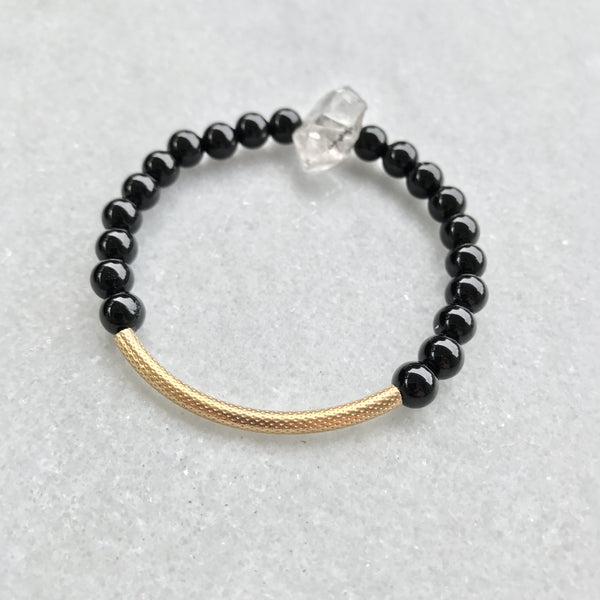 Tibetan Black Crystal Quartz and Black Onyx Bracelet 1