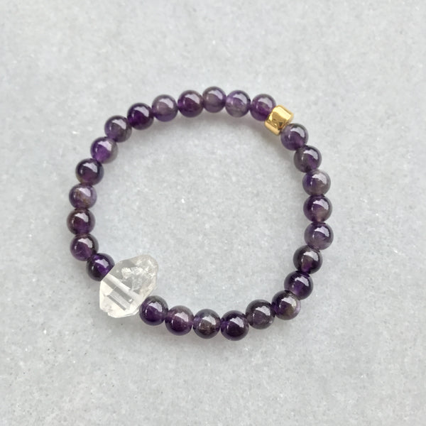 Amethyst and Tibetan Black Crystal Bracelet 1 - Angela Arno Jewelry