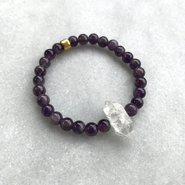 Amethyst and Tibetan Black Crystal Bracelet 2 - Angela Arno Jewelry