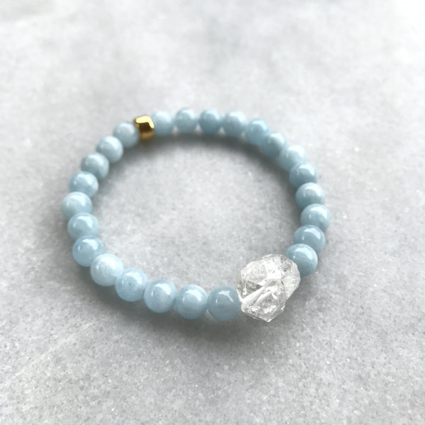 Aquamarine and Tibetan Black Crystal Quartz Bracelet 1 - Angela Arno Jewelry