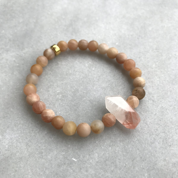 Sunstone and Lepidolite Bracelet