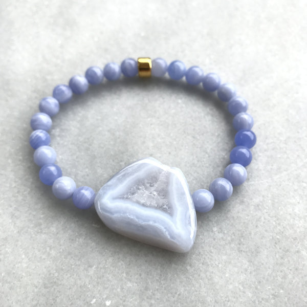 Blue Lace Agate All-the-way Bracelet