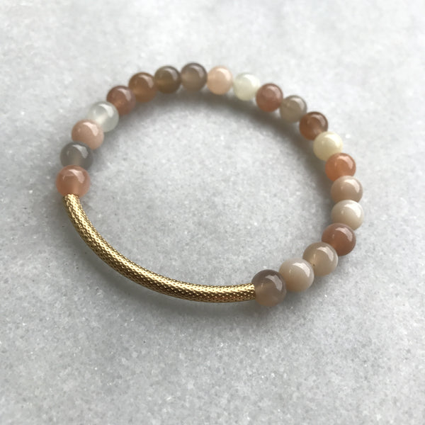 Moonstone Gold Tube Bracelet