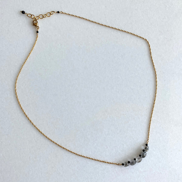 Whitney - Micro Black Tourmalinated Quartz Necklace - Angela Arno Jewelry