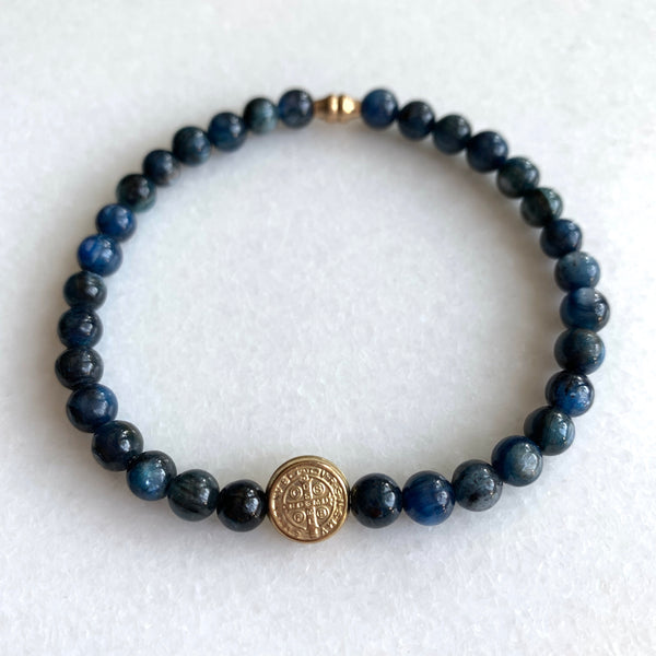 Protection - St. Benedict and Blue Kyanite Bracelet - Angela Arno Jewelry