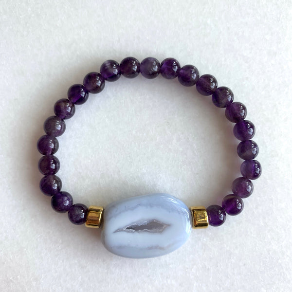 Calm Communicator - Amethyst and Blue Lace Agate Bracelet - Angela Arno Jewelry
