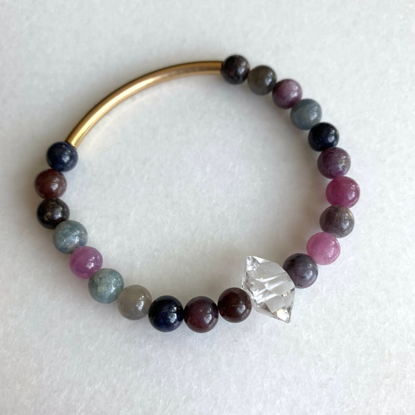 The Seeker - Sapphire, Ruby, and Herkimer Diamond Bracelet - Angela Arno Jewelry