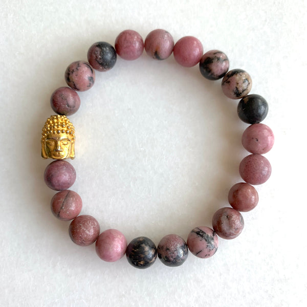 Open Heart - Rhodonite Buddha Bracelet - Angela Arno Jewelry