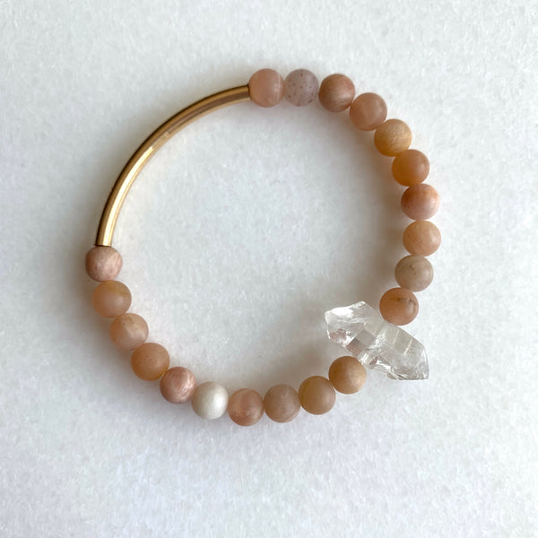 The Booster - Sunstone and Tibetan Crystal Quartz Bracelet - Angela Arno Jewelry