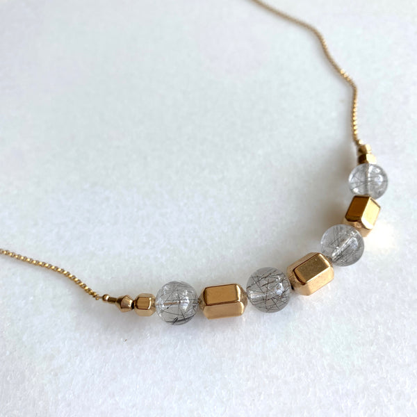 Amy - Black Tourmalinated Quartz and Gold Necklace - Angela Arno Jewelry