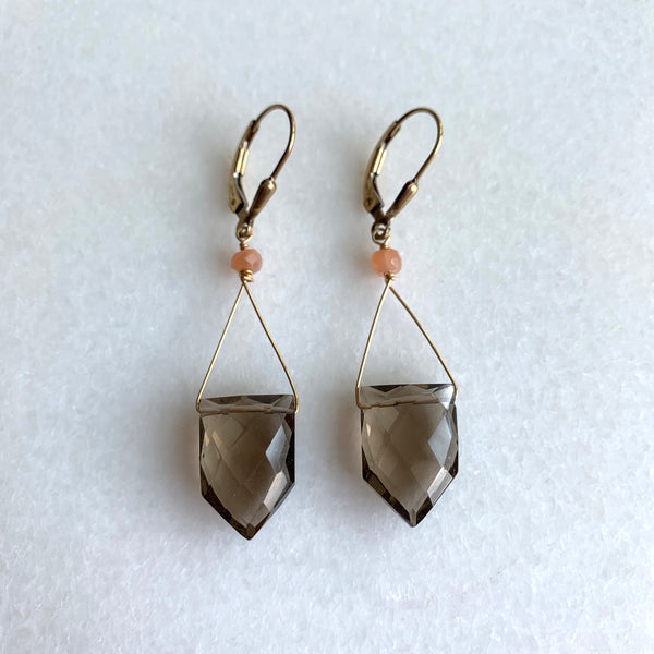 Smokey Quartz and Peach Moonstone Earrings - Angela Arno Jewelry