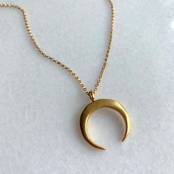 Matte Crescent Necklace - Large - Angela Arno Jewelry