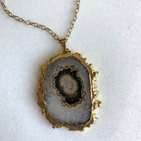 Large Solar Quartz Slice Necklace - Angela Arno Jewelry