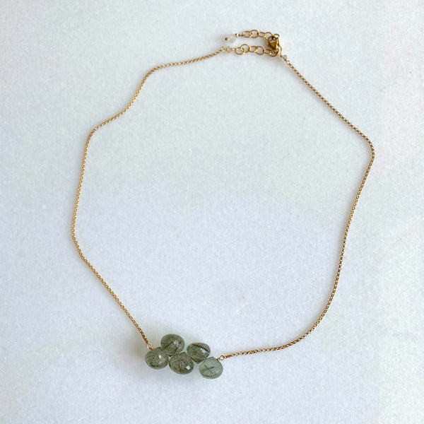 Green Rutilated Quartz Cluster Necklace - Angela Arno Jewelry