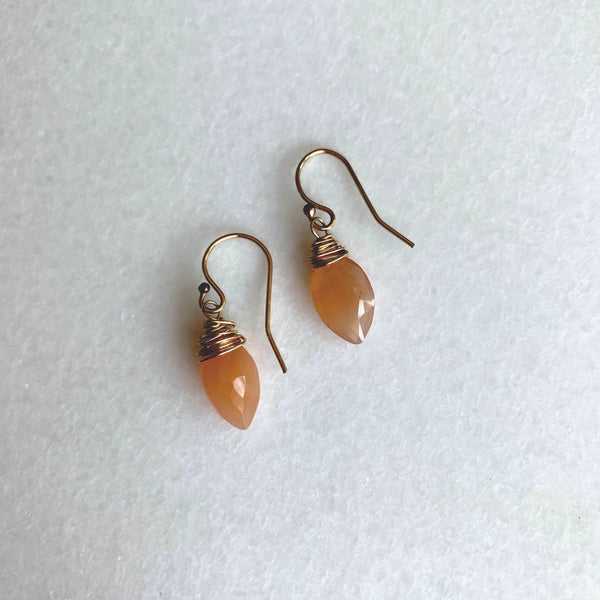 Peach Moonstone Earrings - Angela Arno Jewelry