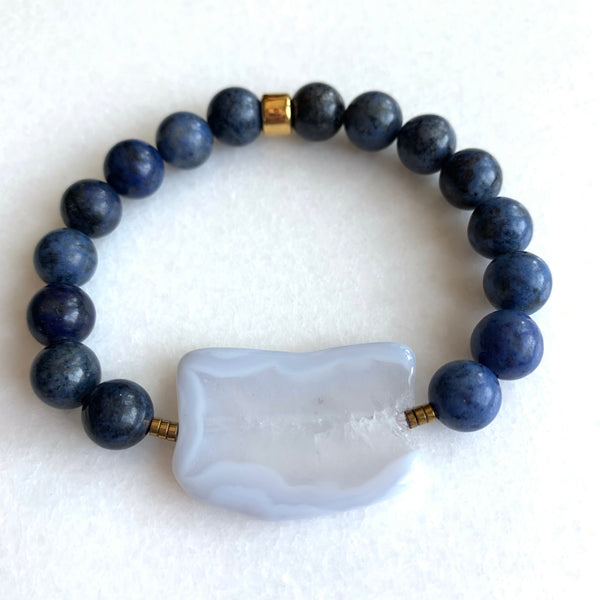 Patience - Dumortierite and Blue Lace Agate Bracelet - Angela Arno Jewelry