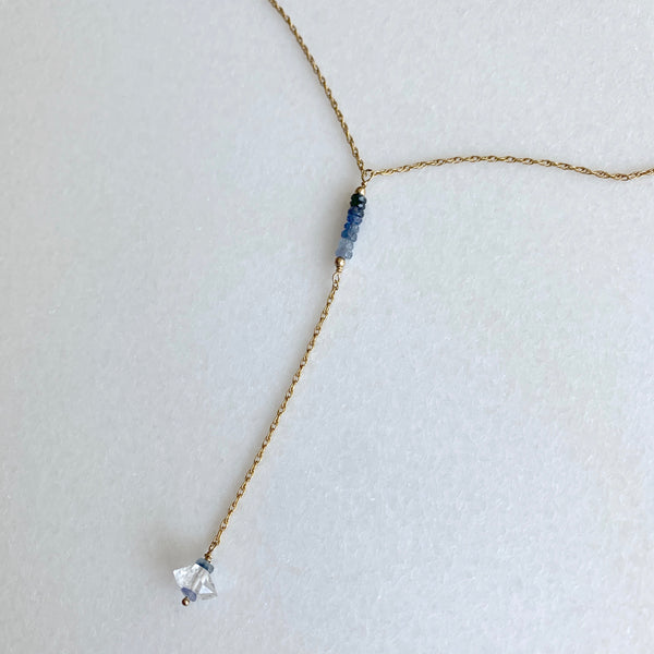 Selena - Blue Sapphire Ombre and Herkimer Diamond Y Necklace - Angela Arno Jewelry