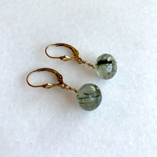 Green Rutilated Quartz Earrings - Angela Arno Jewelry