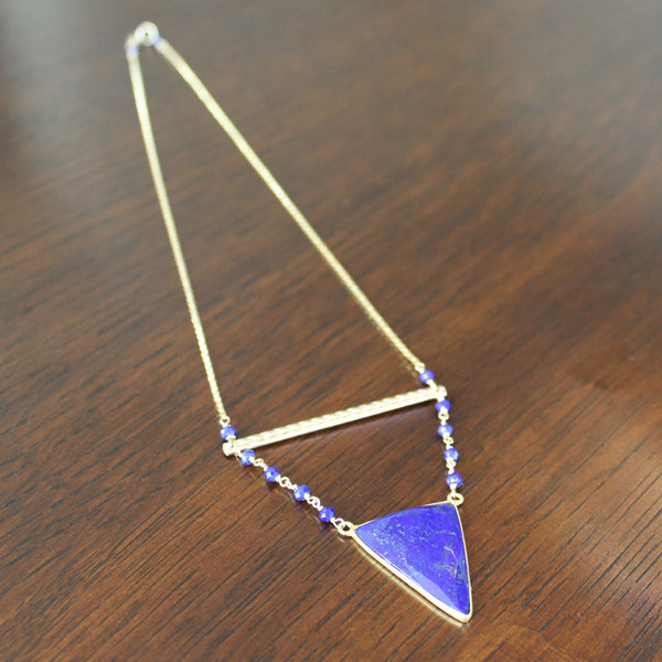 Lapis Triangle Necklace - Angela Arno Jewelry