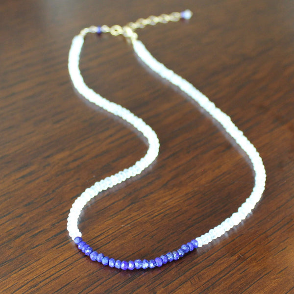White Topaz and Lapis Lazuli Necklace - Angela Arno Jewelry