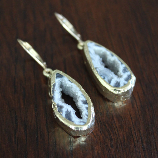 Black, Grey, and White Agate Slice Earrings - Angela Arno Jewelry