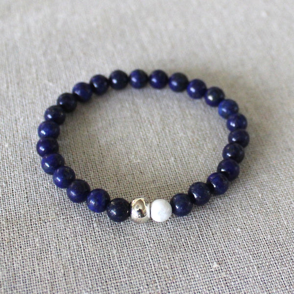 Lapis Lazuli, White, and Silver Bracelet - Angela Arno Jewelry