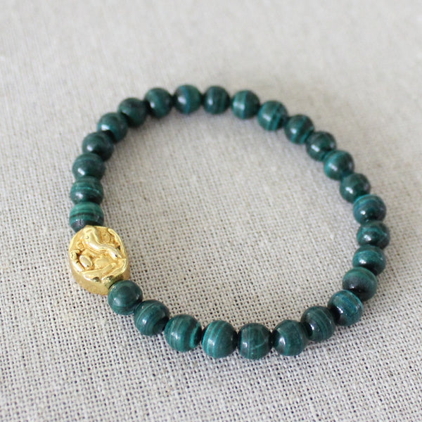 Malachite Lotus/Ganesh Bracelet - Angela Arno Jewelry
