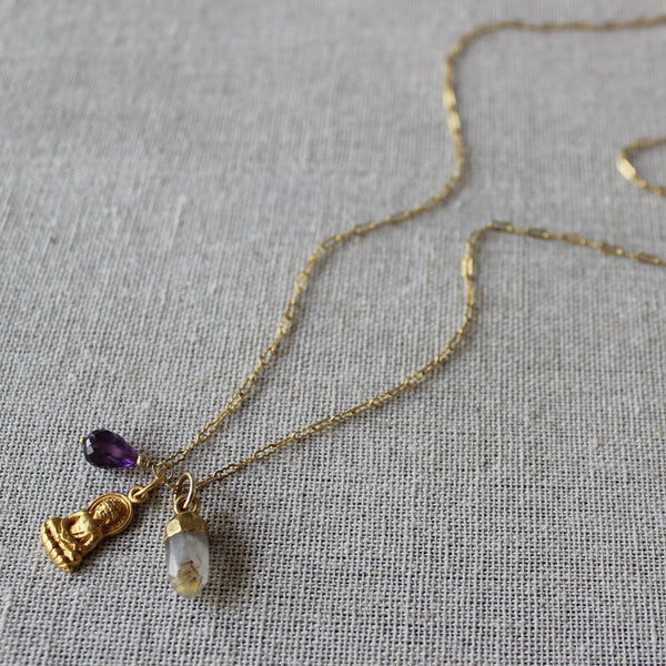 Delicate Buddha, Amethyst, and Golden Rutilated Quartz Necklace