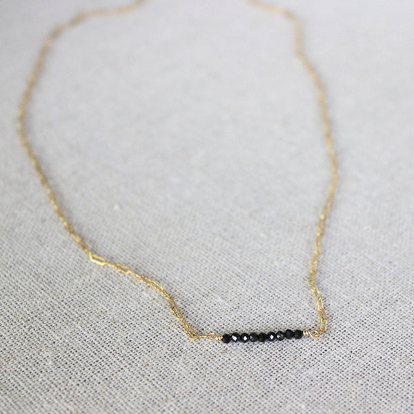 Delicate Black Spinel Necklace