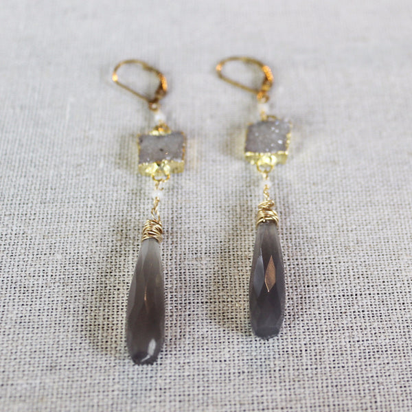 Druzy and Grey Chalcedony Earrings - Angela Arno Jewelry