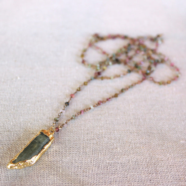 Long Tourmaline and Green Kyanite Necklace