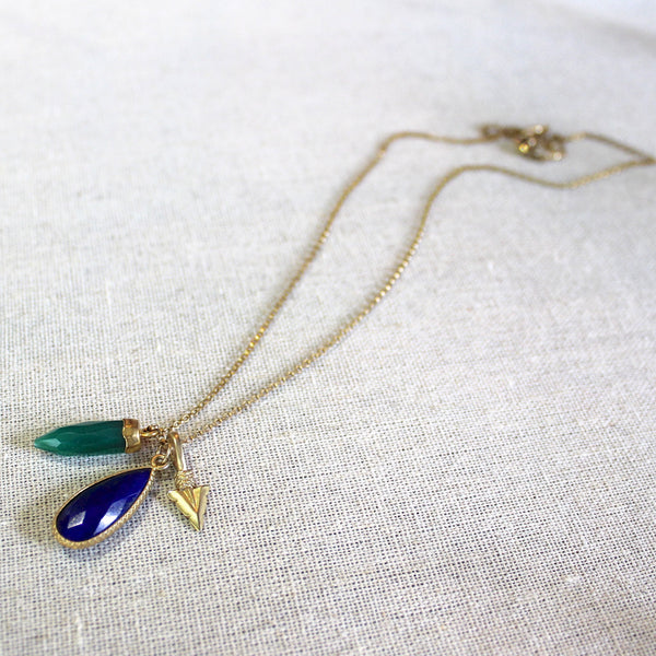Green Onyx, Lapis Lazuli, and Gold Point Necklace