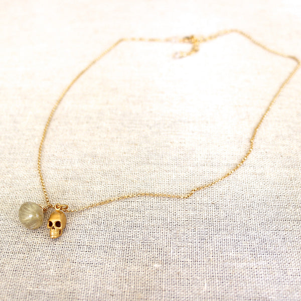 Skull and Golden Rutilated Quartz Necklace