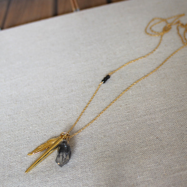Tibetan Black Quartz, Spike, and Feather Talisman Necklace