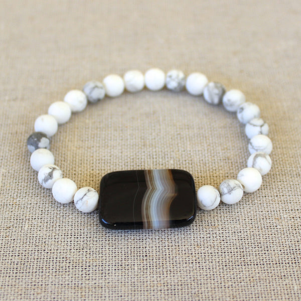 Sardonyx and Matte White Bracelet