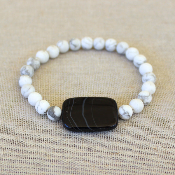 Sardonyx and Matte White Bracelet 2