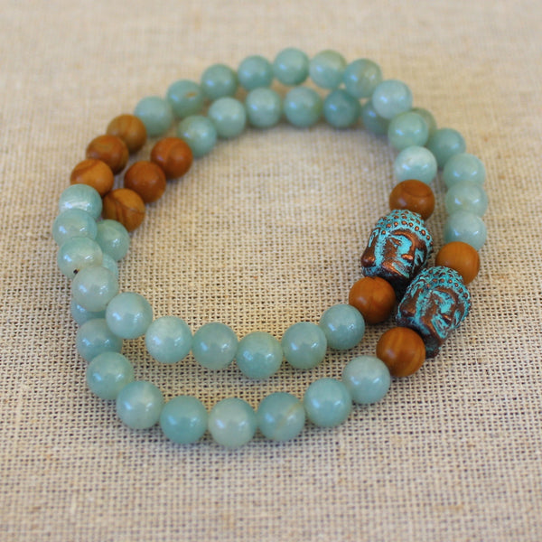 Amazonite, Wood Jasper, and Buddha Bracelet