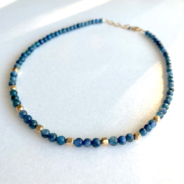 Mika - Blue Kyanite and Gold Strand Necklace - Angela Arno Jewelry