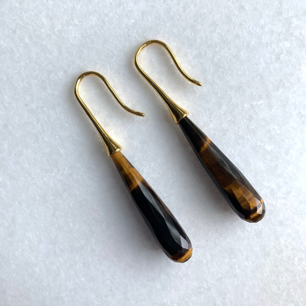 Faceted Tiger's Eye Ear Drops - Angela Arno Jewelry