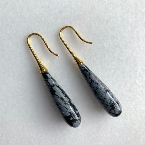 Snowflake Obsidian Ear Drops - Angela Arno Jewelry