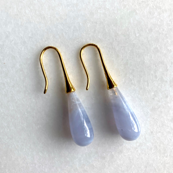 Blue Lace Agate Ear Drops - Angela Arno Jewelry