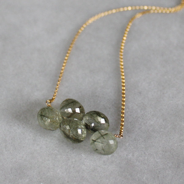 Green Rutilated Quartz Cluster Necklace