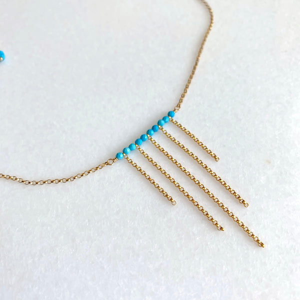 Samantha - Turquoise Fringe Necklace - Angela Arno Jewelry