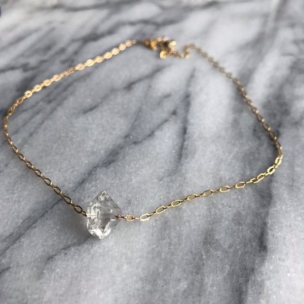 Carrie - Single Stone Herkimer Diamond Necklace