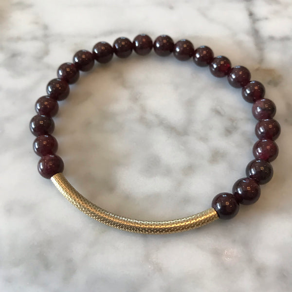 Garnet and Textured Tube Bracelet